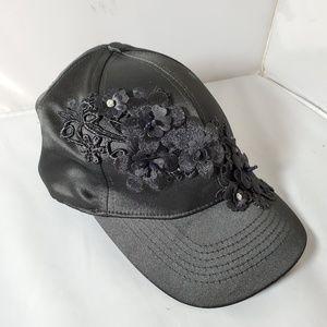 Steve Madden Black Satin Fashion Baseball Cap Hat